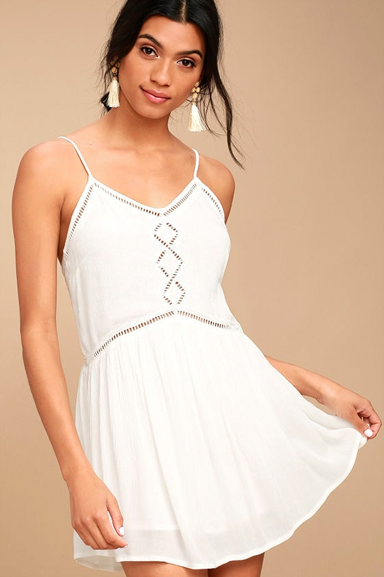 Amuse Society Tatum White Crochet Mini Dress 1