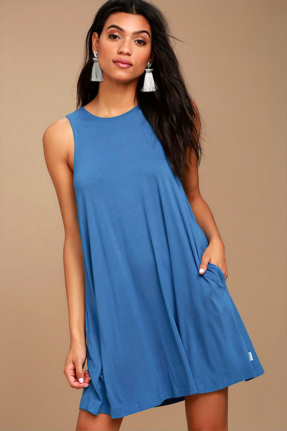 RVCA Sucker Punch 2 Denim Blue Swing Dress 1
