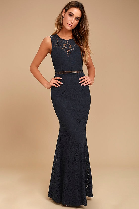 Music of the Heart Navy Blue Lace Maxi Dress 1