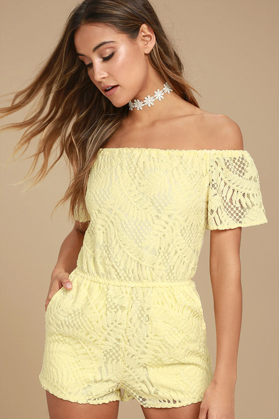 c2183bf103a0 BB Dakota Haidyn - Pale Yellow Lace Romper - Off-the-Shoulder Romper -   91.00