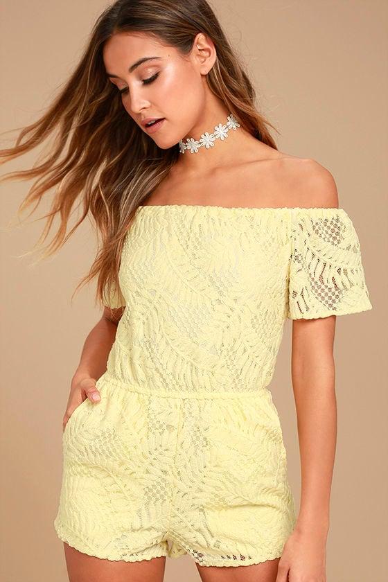 BB Dakota Haidyn Pale Yellow Lace Off-the-Shoulder Romper 1