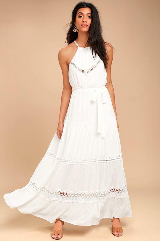 Some Kind of Wonderful White Lace Maxi Dress 1