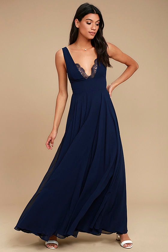 True Bliss Navy Blue Maxi Dress 1