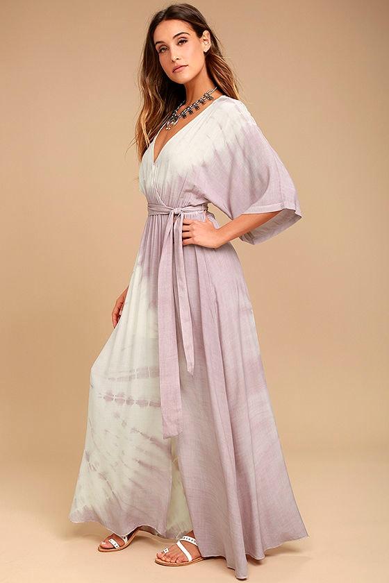 Awaken My Soul Ivory and Lavender Tie-Dye Maxi Dress 2