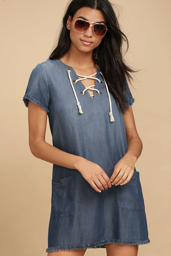 Black Swan Payton Blue Chambray Lace-Up Shift Dress 1