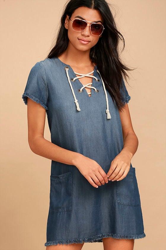 d70cf074792d Black Swan Payton - Blue Chambray Dress - Lace-Up Dress - Shift Dress -  $79.00