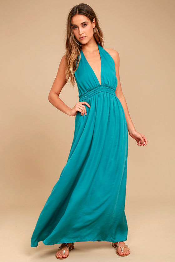 Lovely Teal Blue Dress - Maxi Dress - Satin Dress - Halter Dress ...