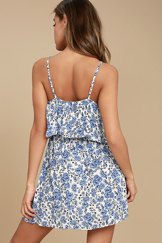 Floral Fave Blue and White Floral Print Dress 3