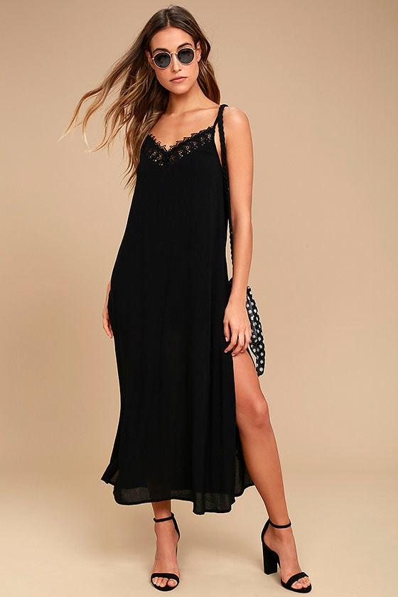 Amuse Society Delilah Black Lace Midi Dress 1