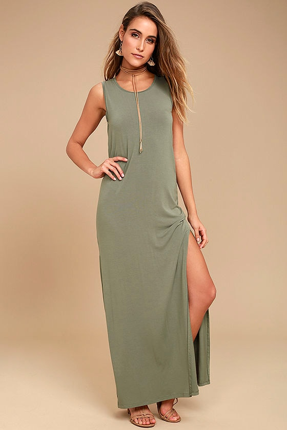 a53be9a6e2ef4 Z Supply - Olive Green Dress - Sleeveless Maxi - Sheath Dress - Casual Dress  -  47.00