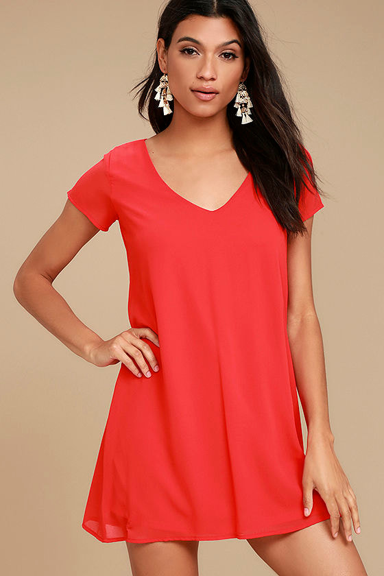 f0999c2aed5c Chic Short Sleeve Red Dress - V-Neck Dress - T-Shirt Dress