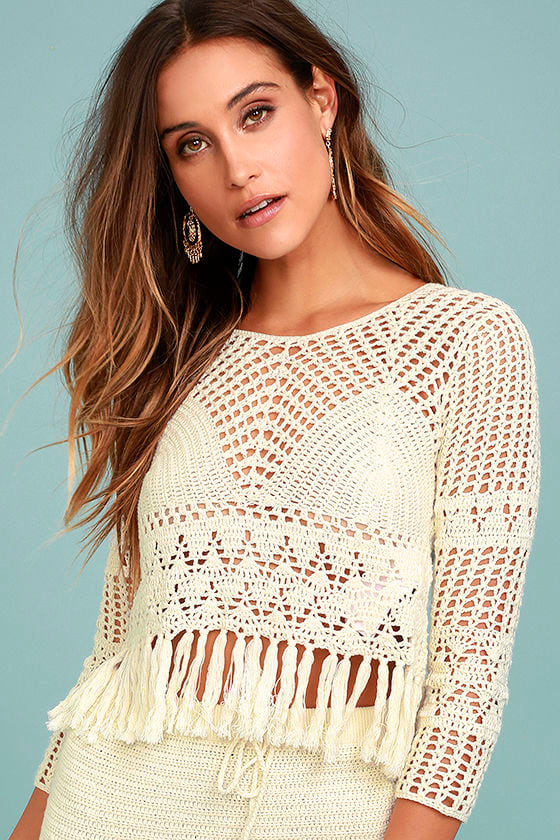 7f21f06550826c MINKPINK Henna Crop Top - Cream Crochet Top - Long Sleeve Crochet Top -  Cream Crop Top -  79.00
