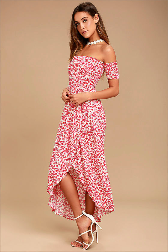 Lucy Love Tranquility Red Floral Print Off-the-Shoulder Dress 1