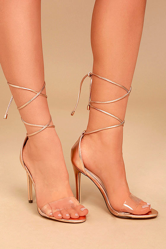 9fa230b1ee6 Sexy Lace-Up Heels - Rose Gold Heels - Lace-Up Heels - Lucite Heels -  32.00