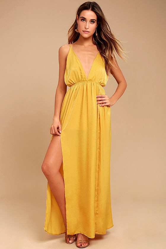 Uncharted Waters Mustard Yellow Satin Maxi Dress 1