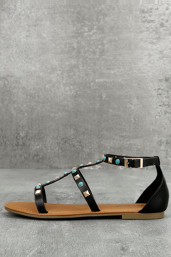 914729b4e Boho Sandals - Black Studded Sandals - Gladiator Sandals - $28.00