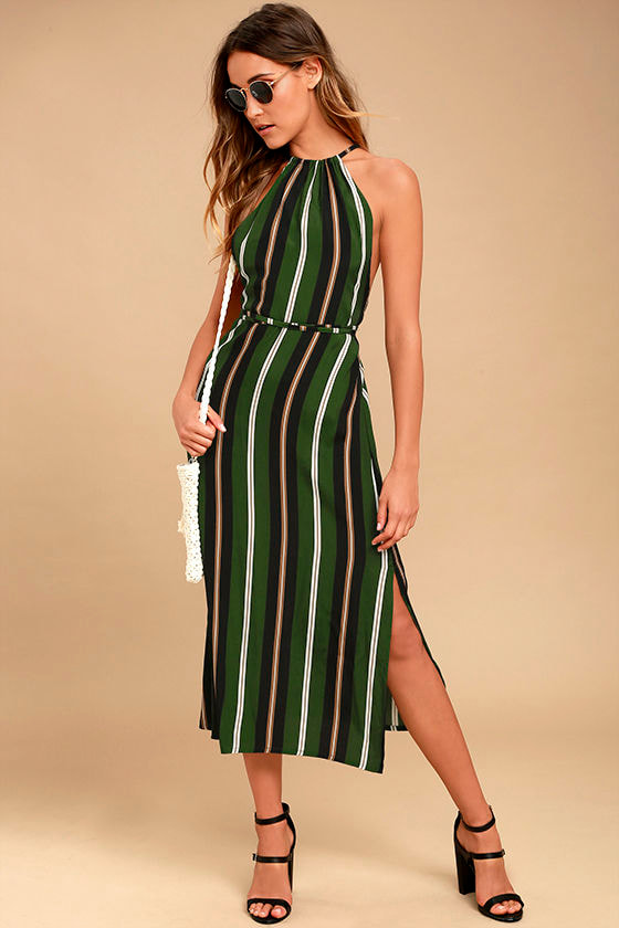 Faithfull the Brand Tuscany Green Striped Midi Dress 1