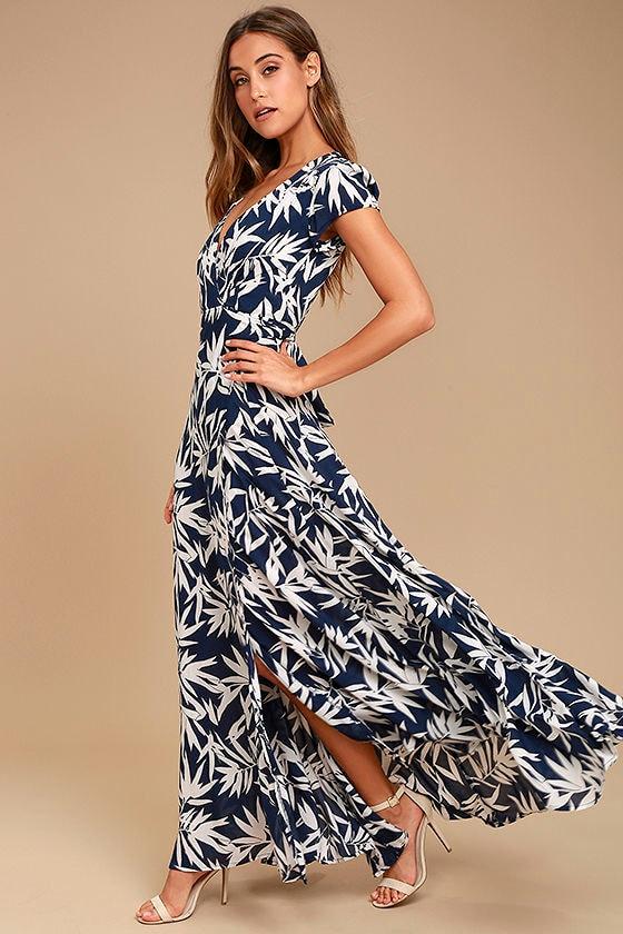 Lovely Navy Blue Dress Print Dress Wrap Dress Maxi