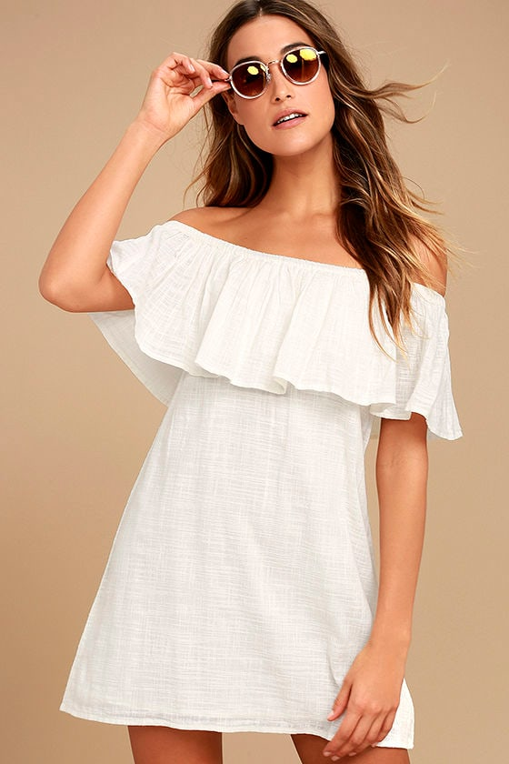 Billabong Mi Bonita Ivory Off-the-Shoulder Shift Dress 1