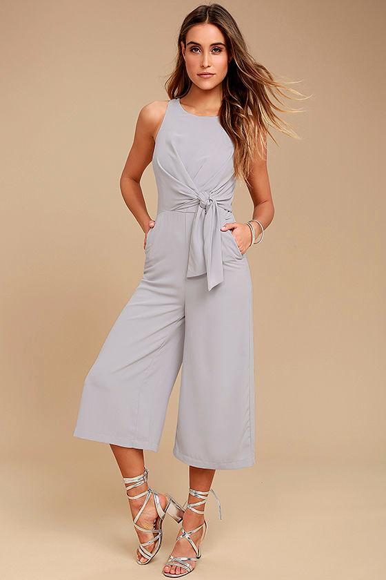 d213b557cc13 Chic Grey Jumpsuit - Midi Jumpsuit - Sleeveless Jumpsuit -  67.00