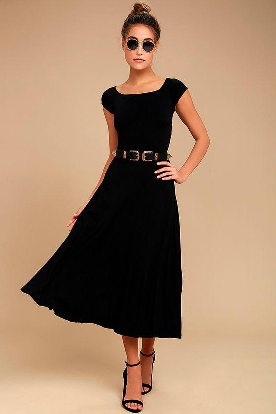 Still alive black midi dress