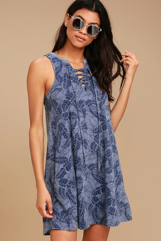 All Tied Up Denim Blue Print Lace-Up Swing Dress 1