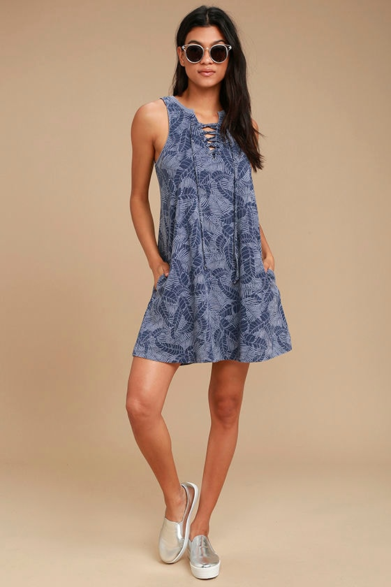 All Tied Up Denim Blue Print Lace-Up Swing Dress 2
