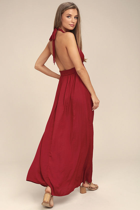 Unforgettable Night Burgundy Satin Maxi Dress 1
