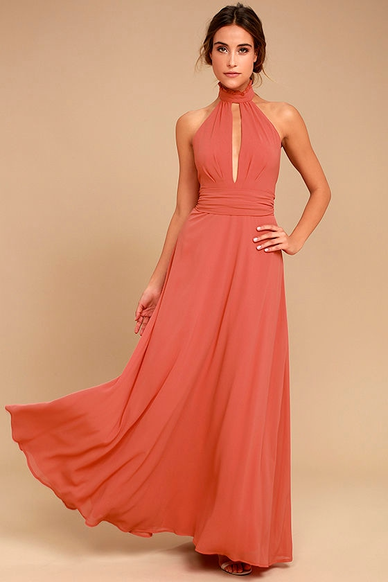 Stunning Rusty Rose Maxi Dress Halter Maxi Backless