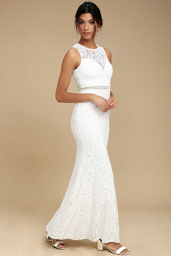 Music of the Heart White Lace Maxi Dress 2