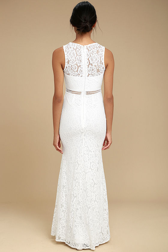 Music of the Heart White Lace Maxi Dress 3