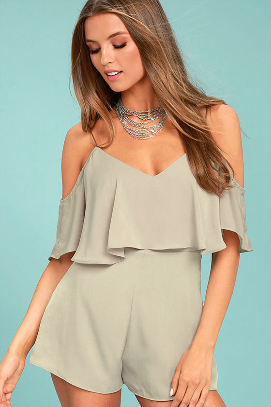 Daily Soiree Taupe Off-the-Shoulder Romper 1