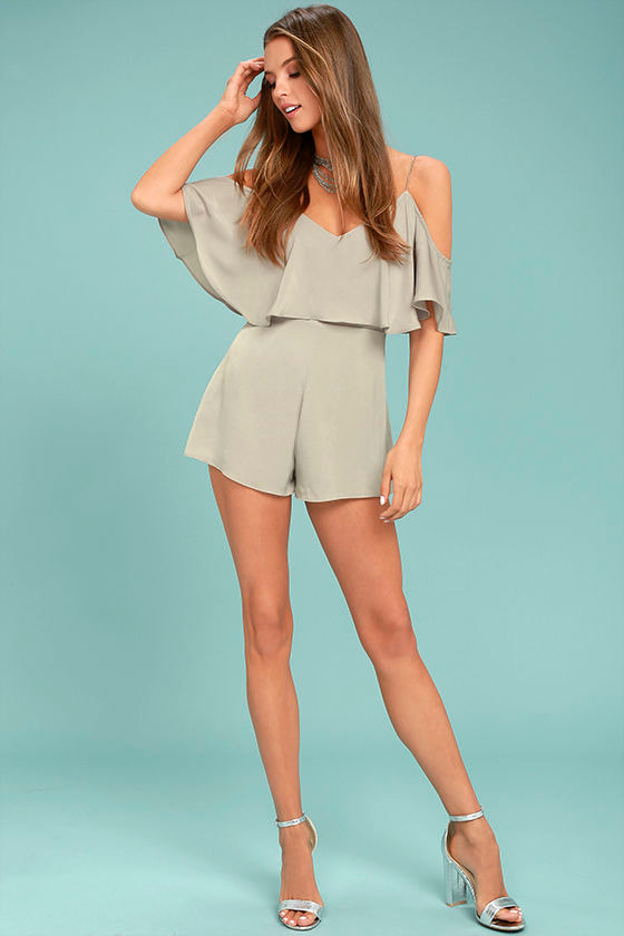Daily Soiree Taupe Off-the-Shoulder Romper 2