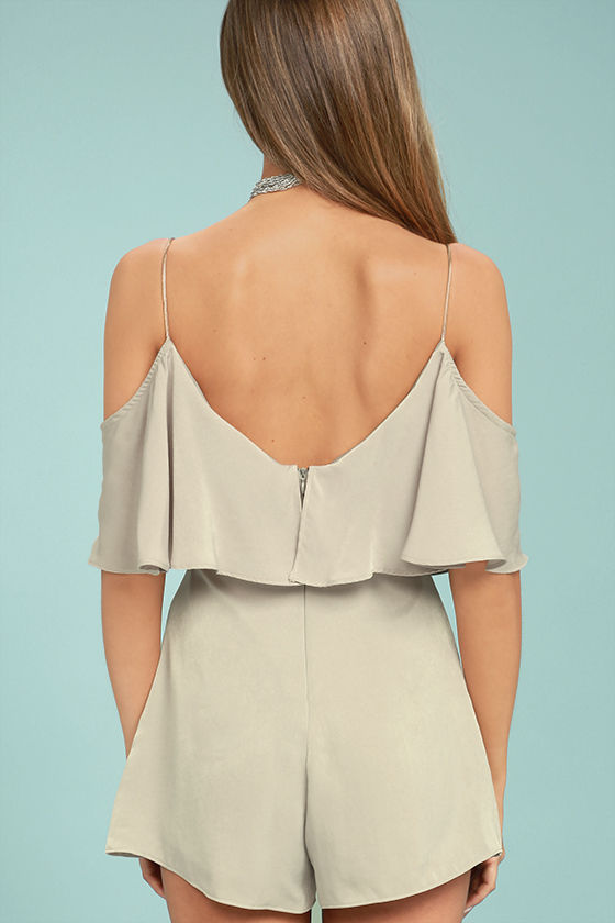 Daily Soiree Taupe Off-the-Shoulder Romper 3