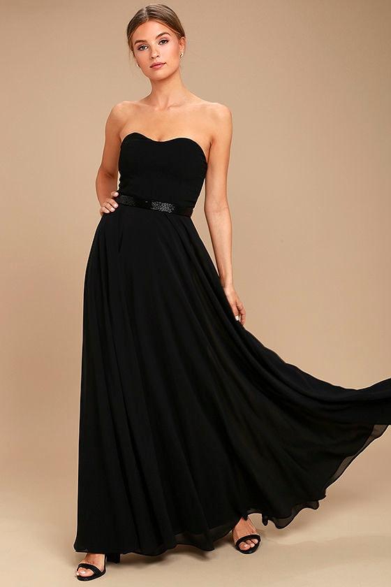 Black Strapless Beaded Dress