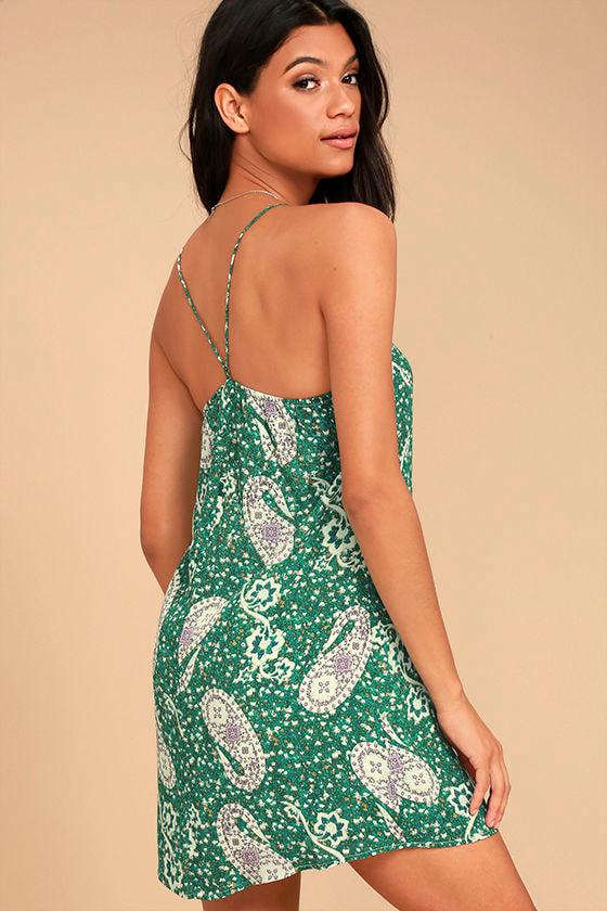 Lucy Love Feels Good Green Print Shift Dress 1