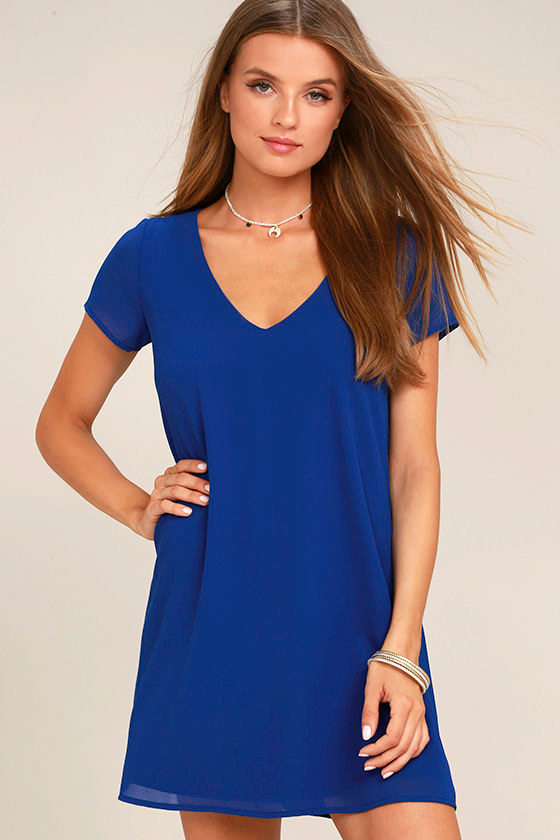 Chic Short Sleeve Dress - V-Neck Dress - T-Shirt Dress - Shift ...