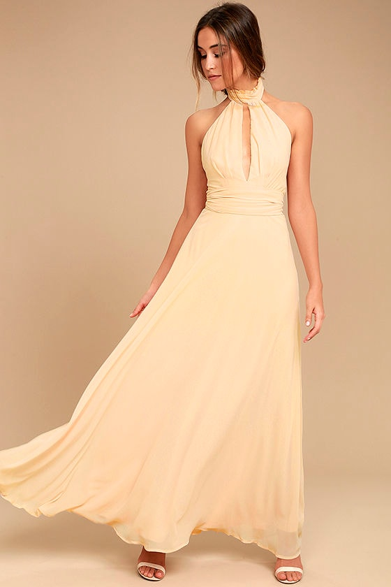 First Comes Love Light Beige Maxi Dress 1