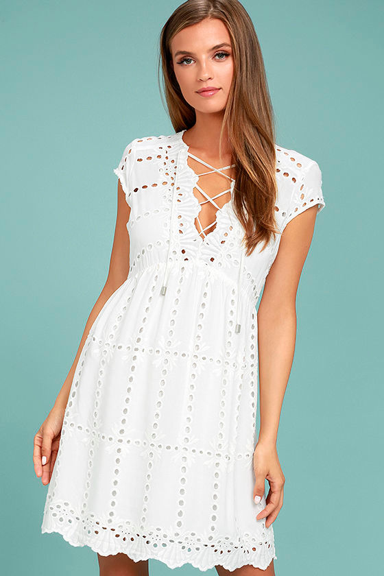 Here to Stay White Lace Dress 1