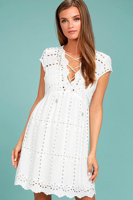 be1b9e746753 Cute White Dress - Lace Dress - Short Sleeve Dress - $78.00