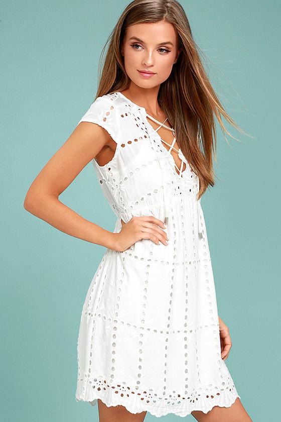 1aa1f8c669e2 Cute White Dress - Lace Dress - Short Sleeve Dress -  78.00