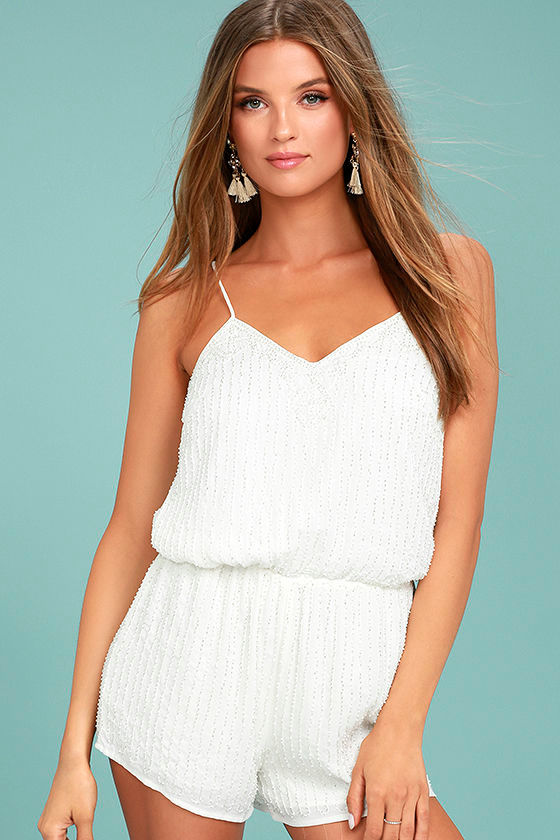 From This Day Forward Ivory Beaded Romper 3