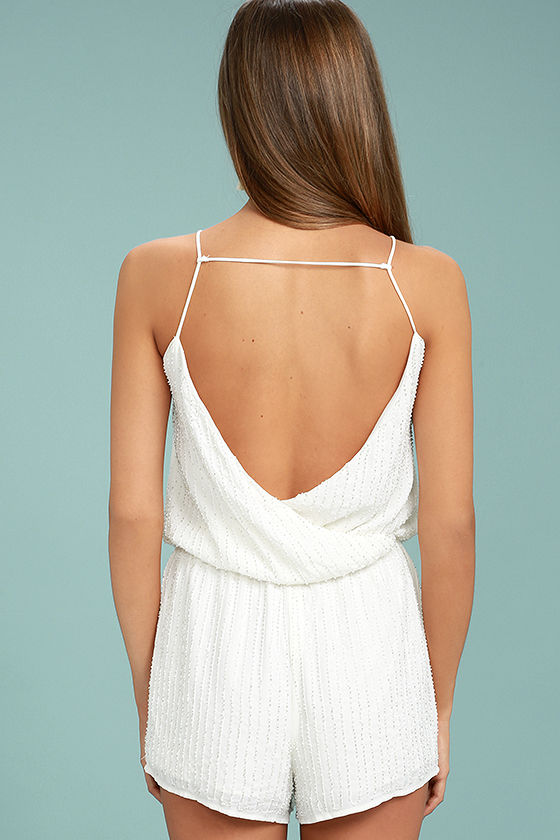 From This Day Forward Ivory Beaded Romper 4
