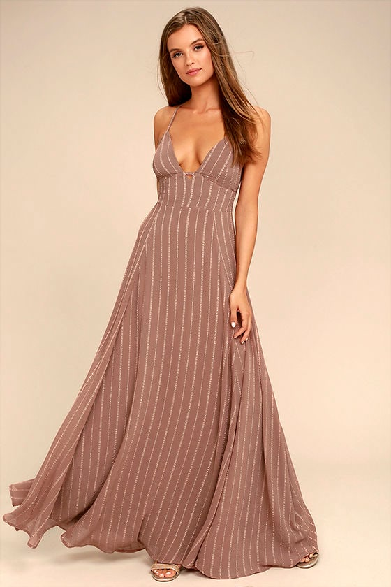 Elevate Light Brown Embroidered Maxi Dress 1