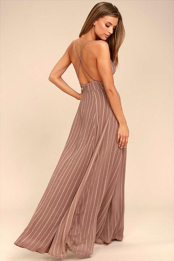 Lovely Light Brown Dress - Maxi Dress - Embroidered Dress - $78.00