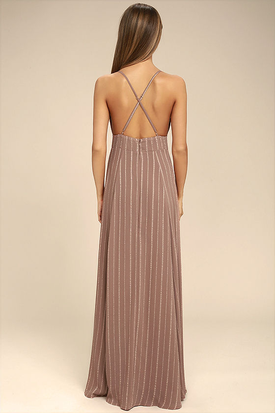Elevate Light Brown Embroidered Maxi Dress 3