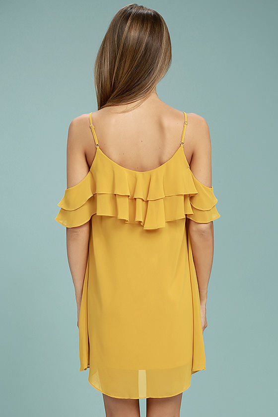 Impress the Best Yellow Off-the-Shoulder Dress 3