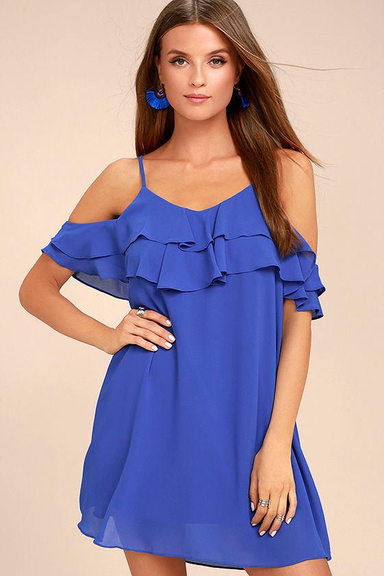 Impress the Best Royal Blue Off-the-Shoulder Dress 1