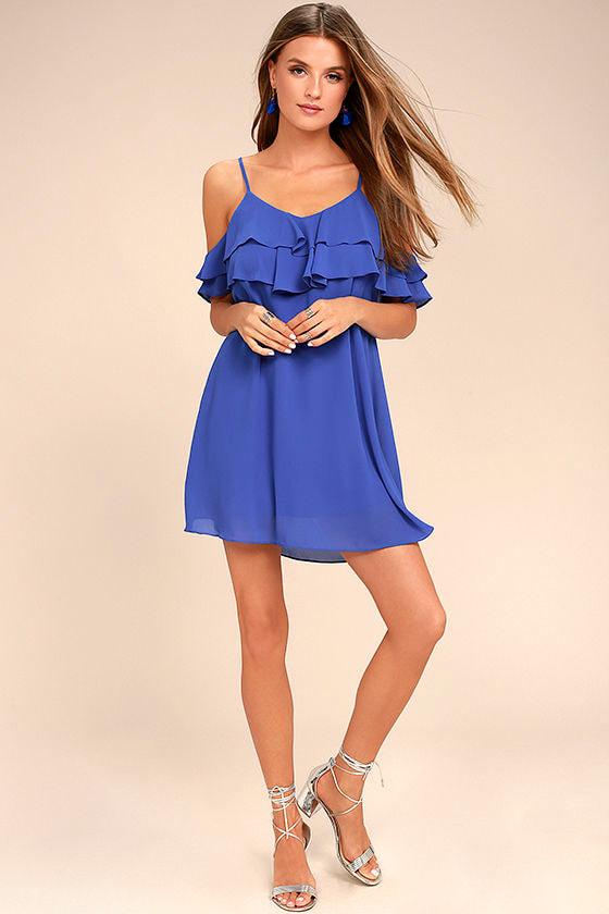 Impress the Best Royal Blue Off-the-Shoulder Dress 2
