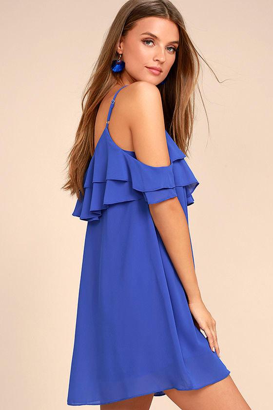 Impress the Best Royal Blue Off-the-Shoulder Dress 3